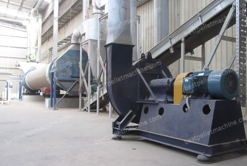 dryer and fan for wood pellet mill